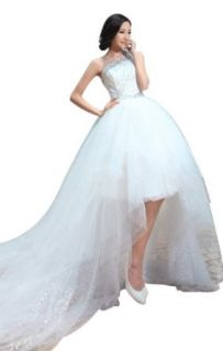 Biggoldapple One Shoulder Chapel Train Crystal Wedding Dress 142: Clothing