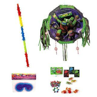 Teenage Mutant Ninja Turtles Drum Pull Pop out Pinata Party Pack Including Pinata, Fun Candy Filler Mix 3lb, Buster stick and Blindfold Toys & Games