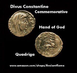Divus Constantine The Great. Quadriga. hand of GOD reaching down to him. Imperial Roman Bronze Commemorative Coin.
