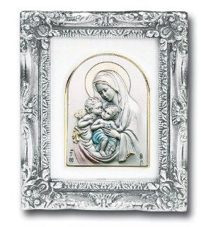 """Antique Silver Leaf Frame w/ Madonna Virgin Saint Mary and Child w/ Guardian Angels 4 1/2"""" Religious Icon Wall Art Picture Image Gift New: Jewelry"""