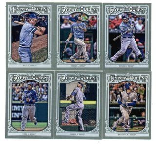 2013 Kansas City Royals Topps Gypsy Queen Baseball Complete Mint 6 Basic Card Team Set; It Was Never Issued in Factory Form. Cards Included Are #136 Salvador Perez, #141 Alex Gordon, #209 Mike Moustakas, #230 George Brett, #256 Eric Hosmer and #303 Billy B