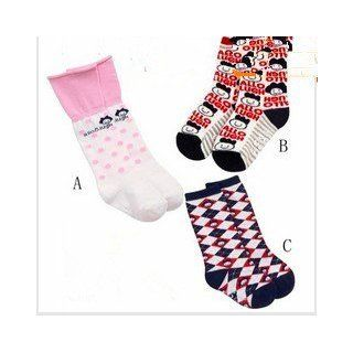 CL0452 1 Pair Children Cotton Non Slip Socks, Cartoon Flower Print Socks, A Style Fit 1 3 Years old Kid: Clothing