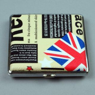 """Pocket Leather Cigarette Square Tobacco Case Wallet Box Holder with English Flag, 3.75""""*3.75"""""""