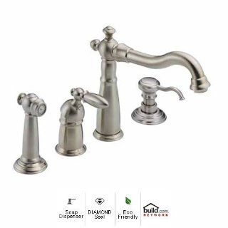 Delta 155 SS DST SD Brilliance Stainless Victorian Victorian Side Spray Kitchen Faucet with Diamond Seal Technology   Includes Soap Dispenser 155 DST SD: Home Improvement
