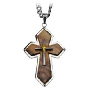 "Inox Stainless Steel Religious Olive Wood Diamond Shape Cross 2"" Pendant SSP156: Jewelry"