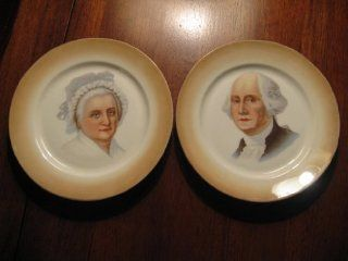 """GEORGE & MARTHA WASHINGTON BAVARIA CABINET PLATES 6"""" by L. Hutschenreuther Porcelain factory in Selb Bavaria, Germany"""
