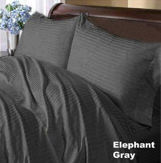 400TC 100% Egyptian Cotton Elephant Grey Stripe Olympic Queen Sheet Set   Pillowcase And Sheet Sets