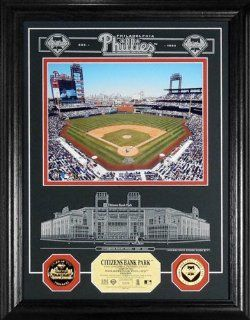 Highland Mint Philadelphia Phillies Citizens Bank Park Archival Etched Glass w/ Two Gold Coins  Sports Related Collectible Photomints  Sports & Outdoors