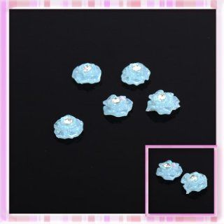 Blue Glitter Rose Get With Rhinestones Design Nail Art Sticker Decoration 5Pcs B0173: Beauty