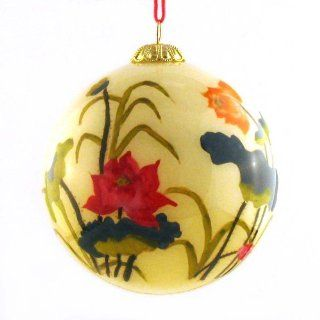 Hand Painted Glass Ornament, Lotus Flowers CO 161   Christmas Ball Ornaments