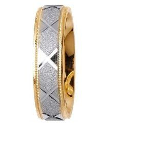 L.A. Wedding 14KLAW1028 S5 6mm 14K Two Tone Wedding Ring   Size 5: L.A. Wedding: Everything Else