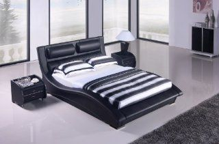 Napoli Modern Platform Bed black (Queen): Home & Kitchen