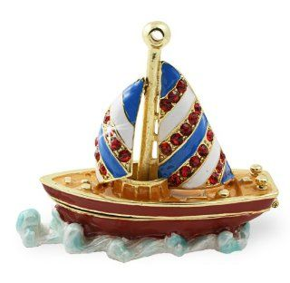 "Objet D'Art Release #163 ""Compass"" Vintage Sailboat Handmade Jeweled Metal & Enamel Trinket Box   Action Figure Accessories"