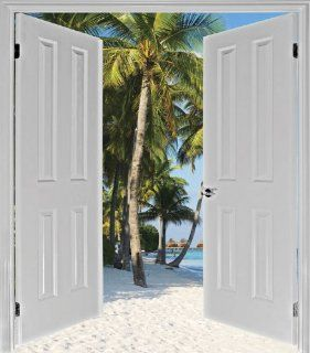 JP London MD4A164 Opportunity Tropical Beach Solitude Cabana Door Window Mural Removable Prepasted Mural at 7.5 Feet High by 6 Feet Wide: Home Improvement