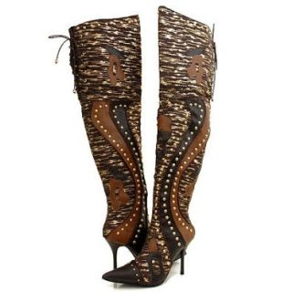 Wild Rose Spira177 Thigh High Boots Brown Multi: Shoes