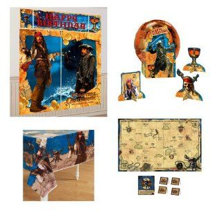 Pirates of the Caribbean Party Pack 4 pc Table cover, scene setter, party game, centerpiece: Toys & Games
