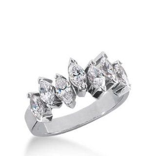 14K Gold Diamond Anniversary Wedding Ring 7 Marquise Shaped Diamonds 1.40 ctw. 181WR35014K: Wedding Bands Wholesale: Jewelry