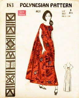 Polynesian Pattern 183 Vintage Hawaiian Alii Dress with Watteau (Train), 1960s/70s: Everything Else