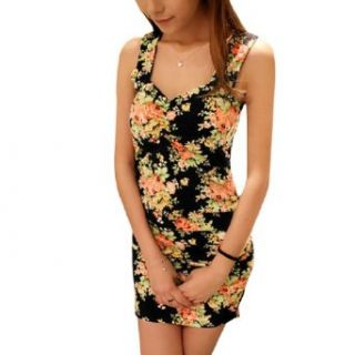 Woman Chic V Neck Shouder Straps Design Floreal Prints Backless Mini Dress at  Women�s Clothing store