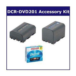 Sony DCR DVD201 Camcorder Accessory Kit includes SDNPQM71D Battery, 638002 Tape/ Media, SDNPFM50 Battery  Camera & Photo