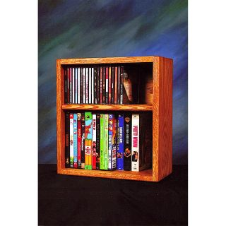 The Wood Shed Solid Oak Desktop / Shelf 26 CD and 22 DVD / VHS Tapes Media Rack   Media Storage