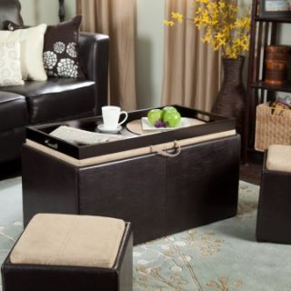 Garrett Coffee Table Storage Ottoman with Tray and Side Ottomans   Storage Ottomans