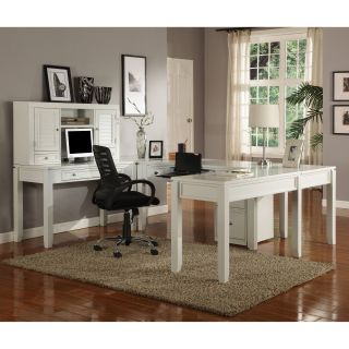 Parker House Boca U Shaped Desk with Hutch   Cottage White   Computer Desks