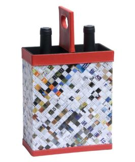 Recycled Magazine 2 Bottle Wine Carrier   Wine Accessories