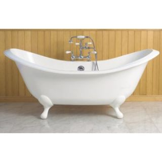Sunrise Elegance 72 in. Cast Iron Double Slipper Clawfoot Tub with Smooth Feet   Clawfoot Tubs