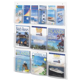 6 Magazine & 6 Pamphlet Display Rack   Clear   Commercial Magazine Racks