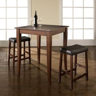 Crosley 3 Piece Pub Dining Set with Cabriole Leg and Upholstered Saddle Stools   Indoor Bistro Sets