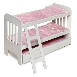 Badger Basket Pink Gingham Princess Doll Bunk Bed with Wheeled Trundle   Baby Doll Furniture