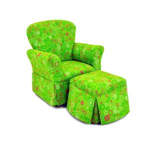 Kidz World Circles Chartreuse/Maggie Skirted Rocker and Ottoman Set   Chairs