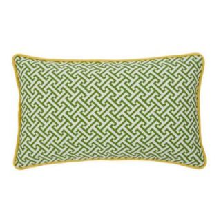 Jiti Maze Green / Yellow 20 x 12 Rectangle Outdoor Pillow   Outdoor Pillows