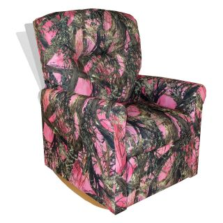 Dozydotes Contemporary Rocker Recliner   Camouflage Pink   Kids Recliners