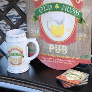Personalized Irish Beer Stein with Sign and Coasters