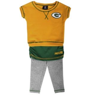 Green Bay Packers Preschool Girls 2 Piece Crew T Shirt & Leggings Set   Green/Gold/Ash