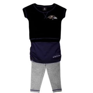 Baltimore Ravens Preschool Girls 2 Piece Crew T Shirt & Leggings Set   Black/Purple/Ash
