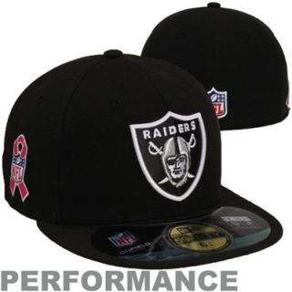 New Era Oakland Raiders Breast Cancer Awareness On Field 59FIFTY Fitted Performance Hat   Black