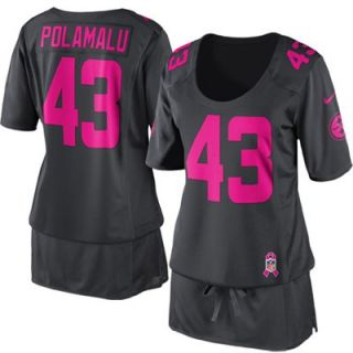 Nike Troy Polamalu Pittsburgh Steelers Ladies Breast Cancer Awareness Fashion Jersey   Anthracite