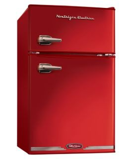 Nostalgia Electrics RRF325HNRED Retro Series 3.1 cu. ft. Compact Refrigerator Freezer   Red   Small Refrigerators