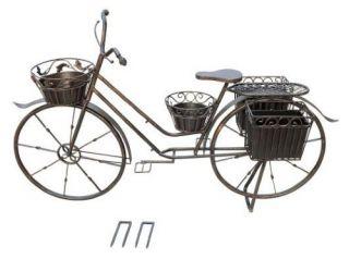 Large Cast Iron Bronze Bicycle Planter   DNU