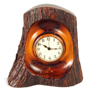 Tree Stump Desktop Clock   Desktop Clocks