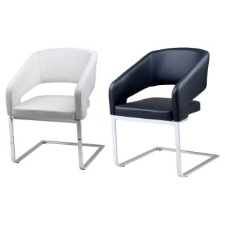 Armen Living Armchair   Leatherette and Stainless Steel Legs   32.5H in.   Leather Club Chairs