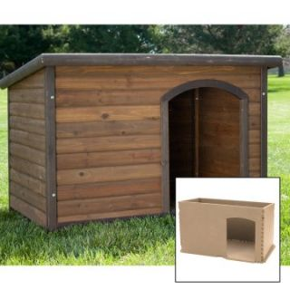 Boomer & George Medium Log Cabin Dog House with Stainless Steel Bowls and Insulation Kit   Dog Houses