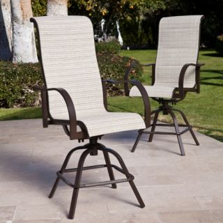 Coral Coast Del Rey Padded Sling Swivel Balcony Bar Stool   Set of 2   Outdoor Dining