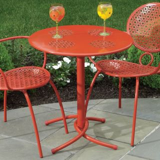 Alfresco Home Daisy Mesh 27.5 in. Round Bistro Table   Blood Orange   Patio Tables