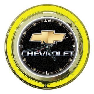 Chevy Bow Tie Logo 14 in. Neon Wall Clock   Clocks