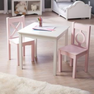 Lipper Hugs and Kisses Table and 2 Chair Set   White & Pink   Activity Tables
