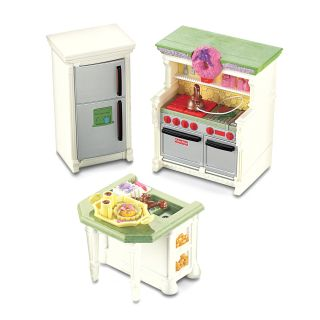Fisher Price Loving Family Dollhouse Kitchen Furniture   3 Pack   Toy Dollhouse Accessories